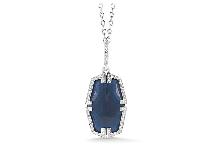 Patras Collection blue sapphire and diamond pendant in 18k white gold.